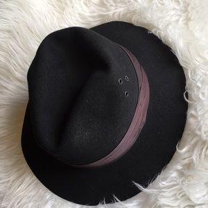 Vintage Fedora Black Boho Hat w/ dust bag